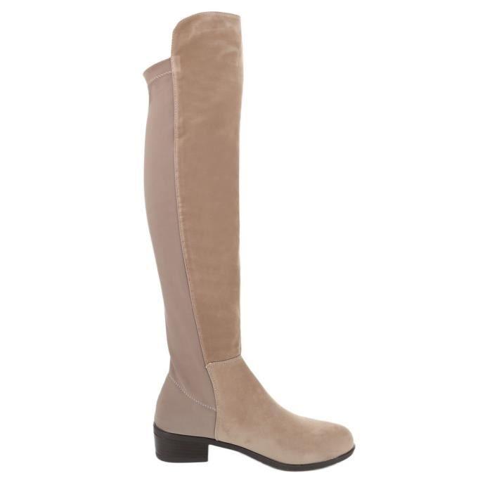 femme botte chaussure facile fourré cuissarde marron clair