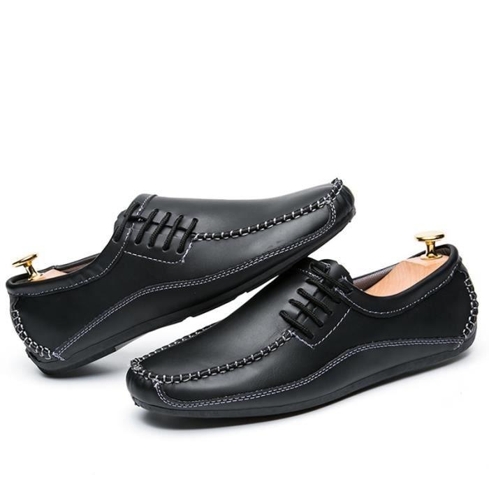 British Fashion style Hommes Chaussures causales Véritable Slip en cuir sur les hommes Chaussures de haute qualité rFgEgMY9