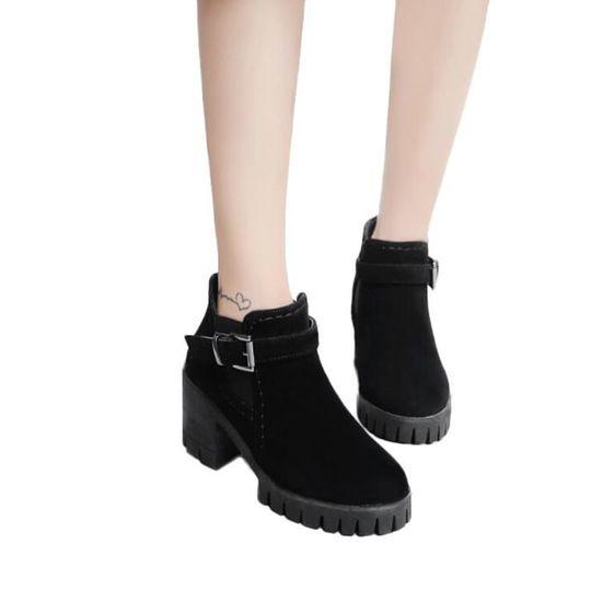 Pachasky®femmes Daim Bracelet Shoes Toe Moyen Boucle Talons En Noir Carrée Martin Zhq80905352bk36 Rondes Bottes rc0pqr