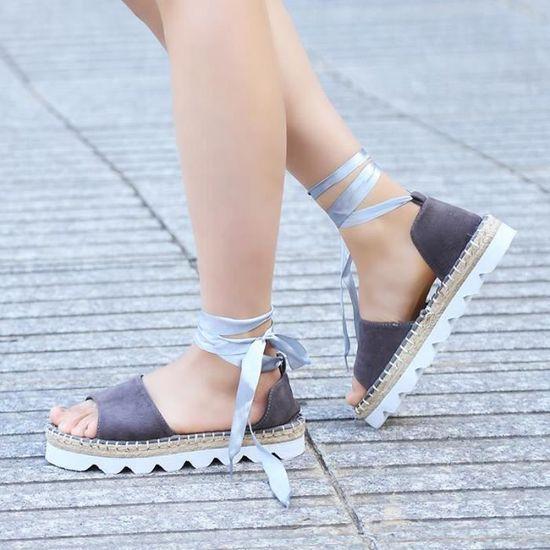 d40f83dc0894d4 Mode Sandales Femme Talons Légèrement Compensées nus-pieds Gris Gris Gris -  Achat / Vente sandale - nu-pieds - Cdiscount