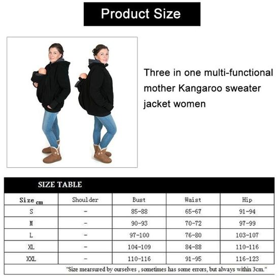 Porte bébé Trois-en-un mère multifonctions Kangourou Zipper Hoodie Manteau  avec capuchon avant Taille  XXL poitrine  110-116cm - Achat   Vente porte  bébé ... 8d2db52fffb