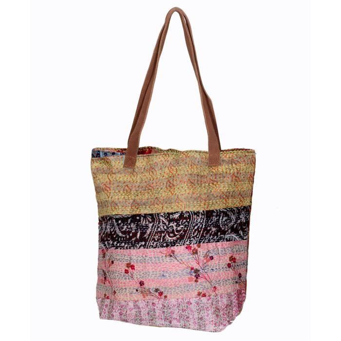 XOV7K femmes poignée bandoulière soie vintage à cuir travailler kantha main la sacs à en YOS1Yx