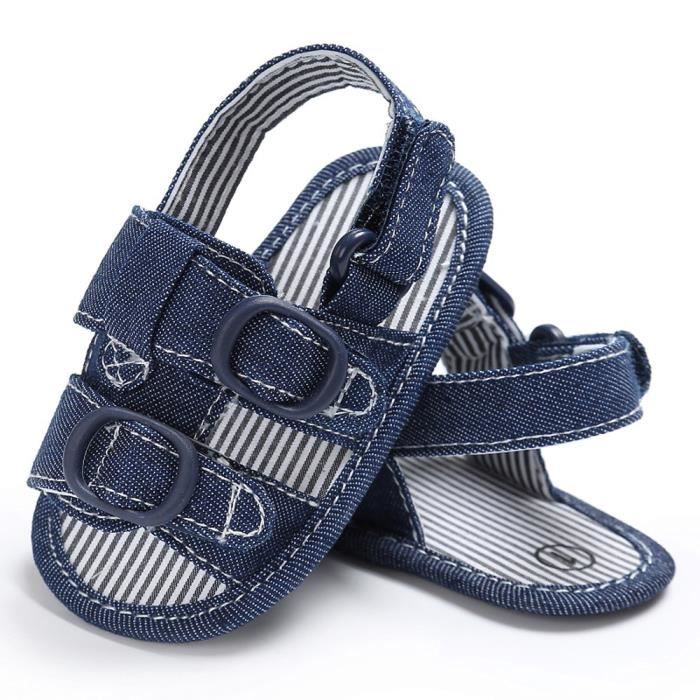 BOTTE Bébé Toddler Toile Garçons Mignon Crib Chaussures T-lié Doux Prewalker Semelles Souple Chaussures@BleuHM