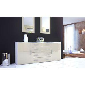 enfilade 4 portes tiroirs laquee blanc achat vente enfilade 4 portes tiroirs laquee blanc. Black Bedroom Furniture Sets. Home Design Ideas