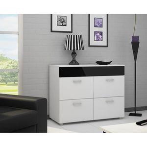 Commode chambre blanc et noir - Achat / Vente Commode chambre ...