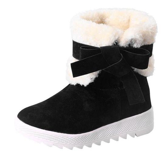 Bottes de femme bowknot Bottes hiver chaud cheville chaud Chaussures d'hiver Noir Noir - Achat / Vente botte