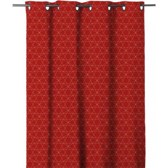 Matière : 100% polyester - Dimensions : 140x280 cm - Coloris : rouge - Type d'attaches : 8 ŒilletsRIDEAU - DOUBLE RIDEAUX
