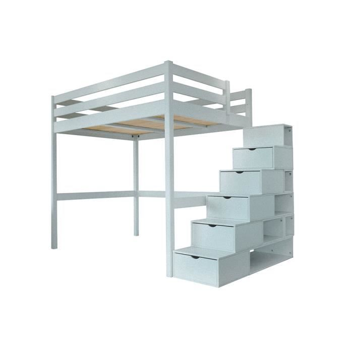 lit mezzanine sylvia avec escalier cube bois couleur gris aluminium dimensions 160x200. Black Bedroom Furniture Sets. Home Design Ideas