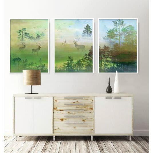 Frais Rêve Vert Forêt Elk Triple Peinture Décorative Pour La