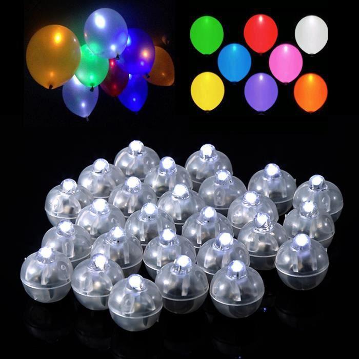 Lot De 50 Lampes Led Blanc Ronde Spherique Pour Ballons Deco De