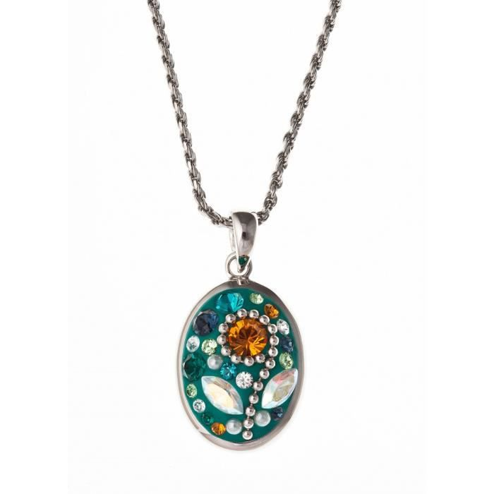 Collier argent rhodié avec cristal et perles de swarovski