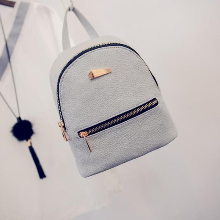 aa13526169 mode mini sac à l'épaule dos en cuir zip fermeture pour voyage femme fille couleur  gris