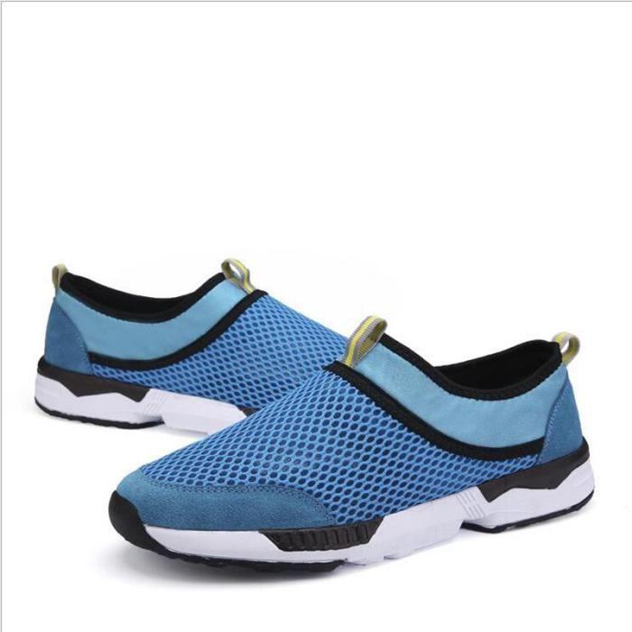 chaussures de filet en toile perm 233 able pour l 233 t 233 bleu achat vente slip on cdiscount