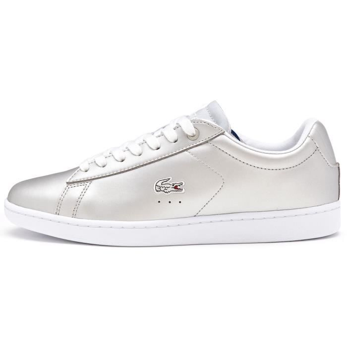 997b95a09cf Baskets Lacoste Carnaby EVO 117 3 SPW Cuir Femmes Chaussures en Clair Gris  733SPW1012 334  UK 8 EU 42