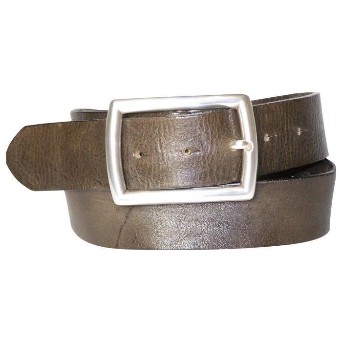 FRONHOFER Ceinture tendance pour homme, ceinture en cuir, cuir écologique,  avec une boucle rectangulaire plaquée argent, sangle 6ca4ad1c9dc