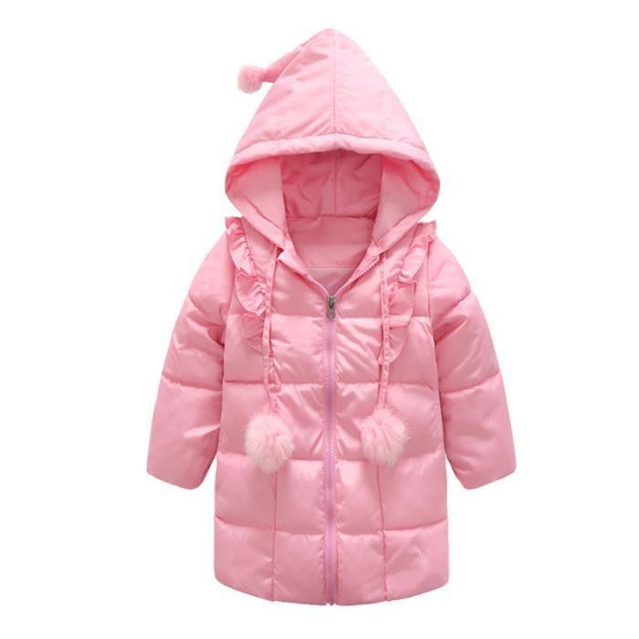f38978f5a4236 Doudoune à capuche bébé fille chaud épaisse mi-longue doublée ...