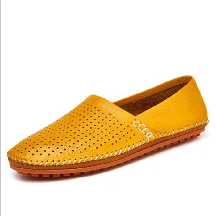 En Haut Qualité Confortable De Véritable Chaussures Sur Respirant Homme Marque Cuir Mocassin Glissement Des Chaussure Classique Rf56w5
