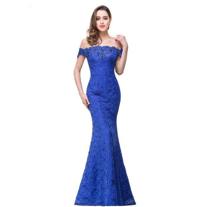 2cfb27cc796 Élégant Cristal Rouge Perlé Bleu Royal Dentelle Sirène longues Robes De  Soirée