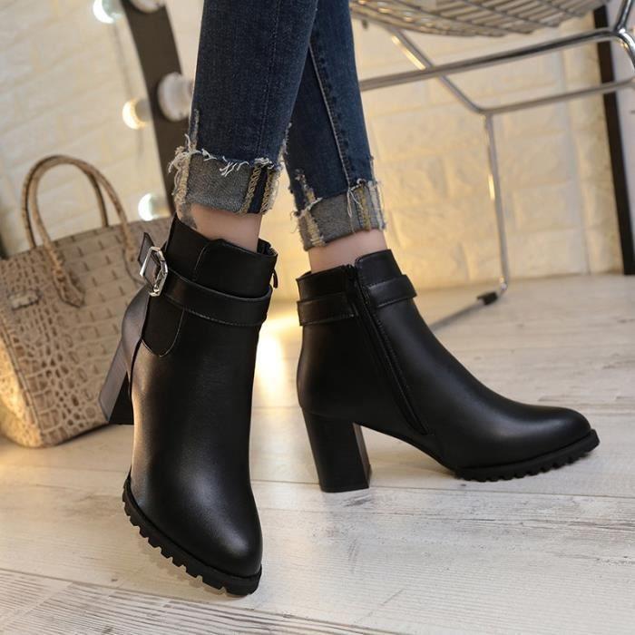 Botte Femme de femme Vintage talon haut en cuir de couleur zips solides noir taille7