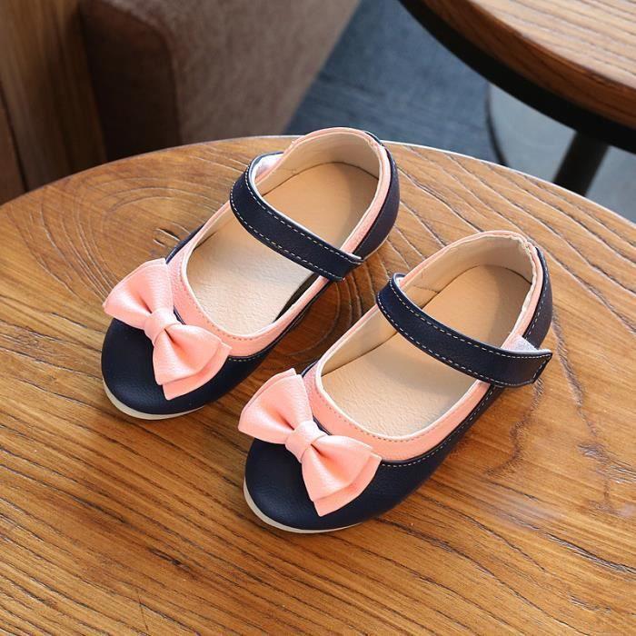 Filles Bowknot princesse chaussures bébé chaussures à semelles souples chaussures en cuir pour enfants taille 21-30 OfMPFz5