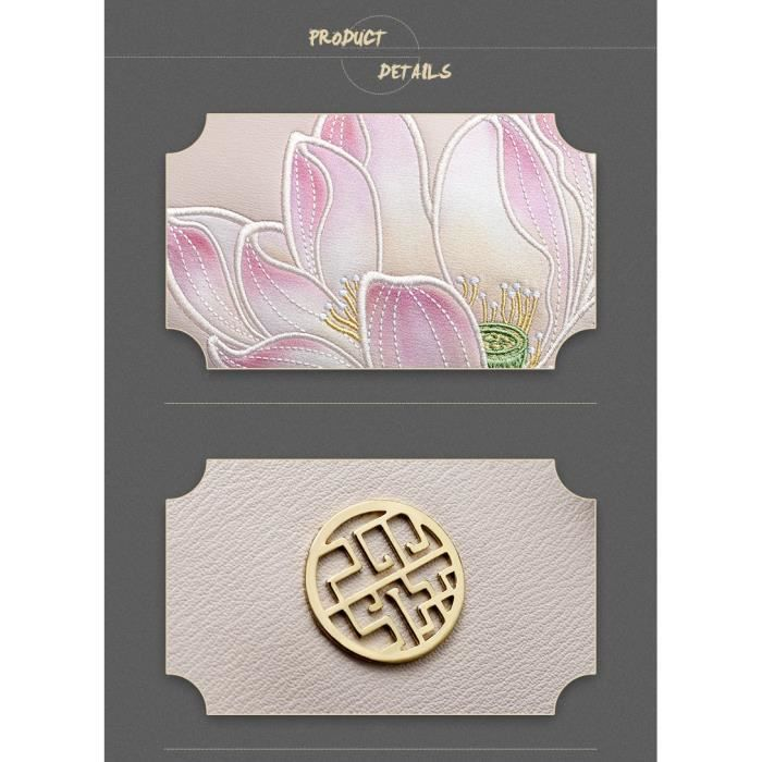 Sac À Main Marque Pmsix Blanc Ecru Rose Avec Motif Fleur Relief Brodé - Cuir - Qualité Luxe - Idée Cadeau