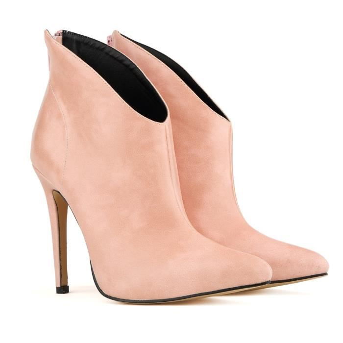 Automne et hiver nouvelle Europe et les États-Unis bottes à talons hauts bottes à talons hauts bottes en cuir en cuir,rose,42