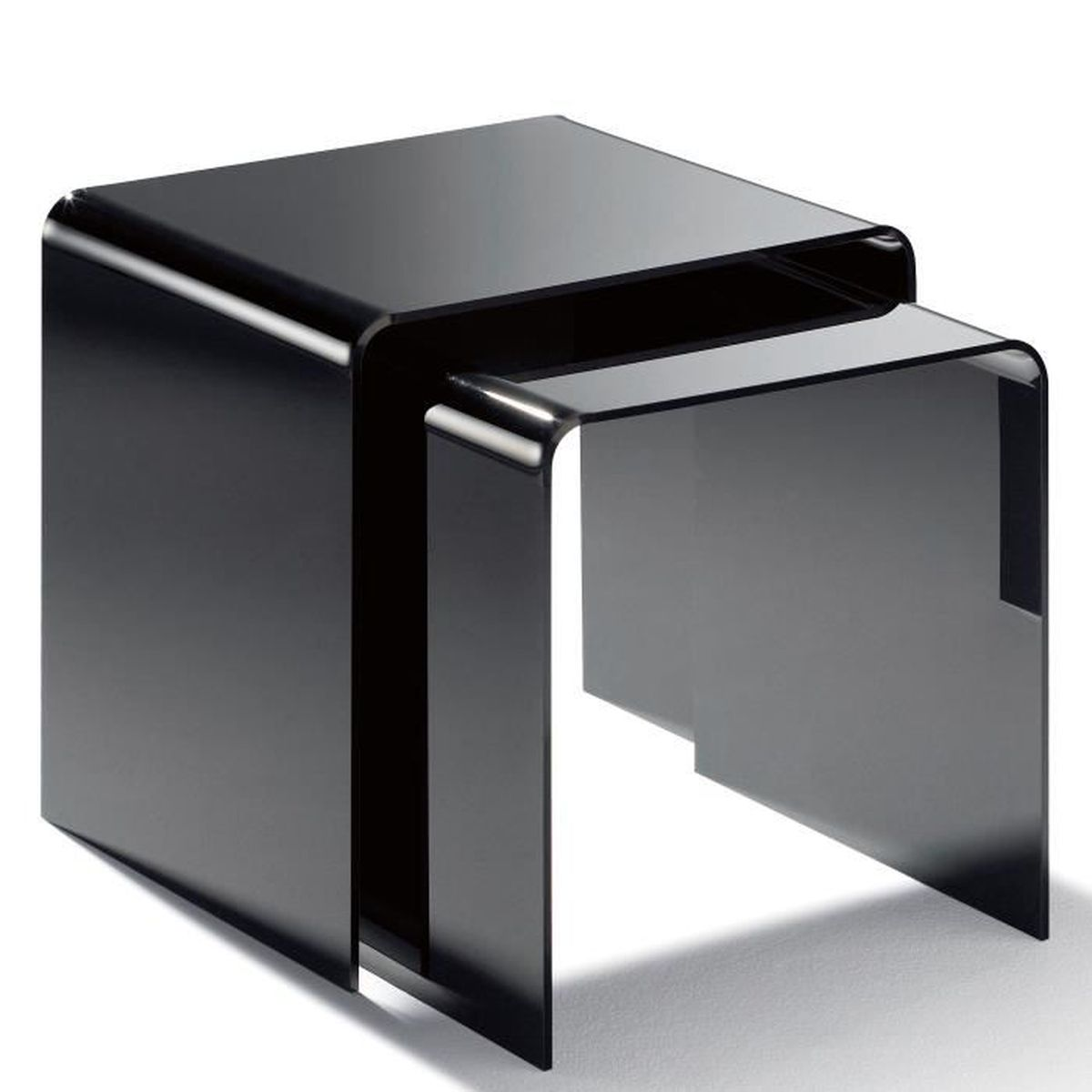 2 tables gigognes en acrylique haute qualité, noir, 40 x 33 cm, h 36