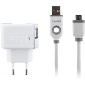 THOMSON Chargeur secteur 2A - 2 Sorties USB - Avec câble USB / micro USB - Blanc