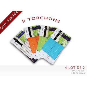 TORCHON - ESSUIE-MAIN TORCHONS TIRETS, 4 LOTS DE 2 TORCHONS
