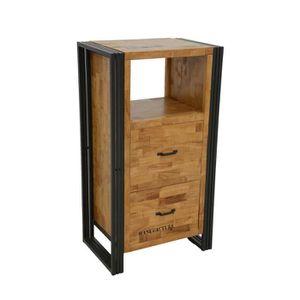 TABLE D'APPOINT Industriel - Meuble de rangement 2 tiroirs 1 niche