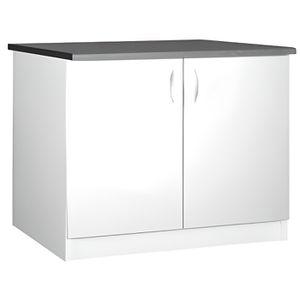 elements bas meuble cuisine bas 120 cm 2 portes oxane blanc
