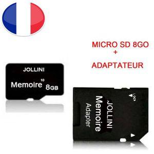 CARTE MÉMOIRE Carte mémoire Micro SD 8 Go classe 10 + adaptateur