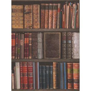 Papier Peint Bibliotheque Ivoire Trompe L Oeil Achat Vente