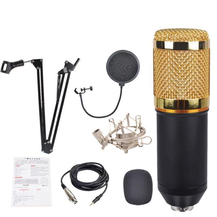 3 En 1 Vogue Bm800 Microphone À Condensateur Pro Audio Studio Sound Arm Enregistrement Mkf30