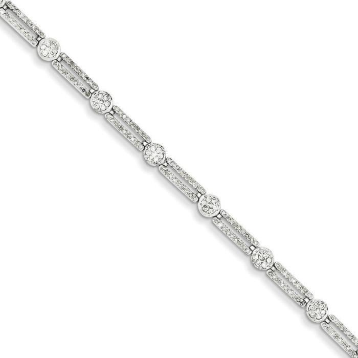 Or blanc 14 carats Diamant rond, Rectangle, Bracelet lien
