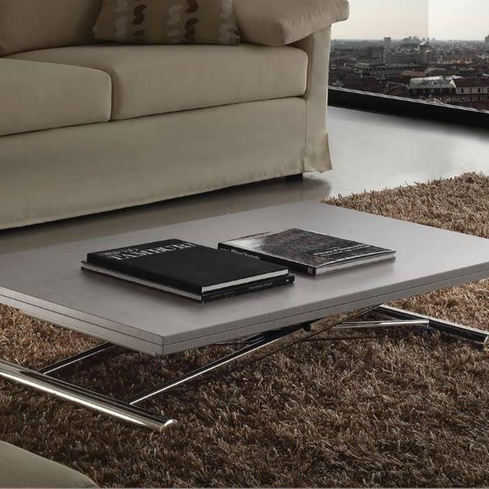 TABLE BASSE Table basse relevable extensible LIFT WOOD gris bé