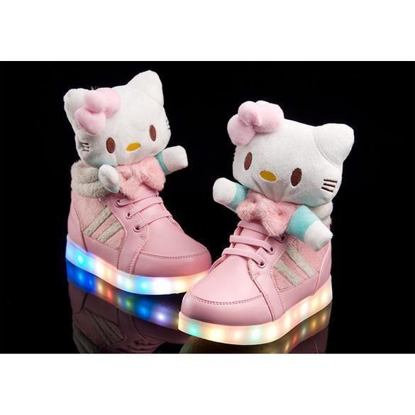 Pour Nouveau De Led Hello Chaussures Enfant Kitty Filles Baskets Yg76bfy