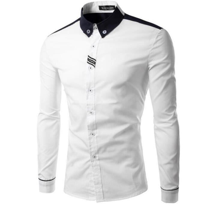 a04701583f28 chemise Chemises Chemise carreaux à à longues Manches Blanc Homme WqFnnHwa