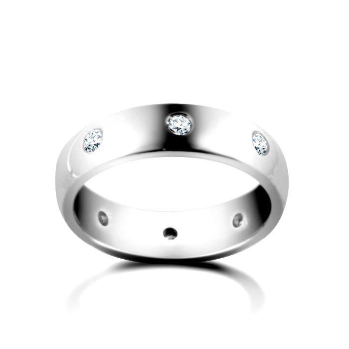Jewelco London Or blanc 9k 0.16ct Diamant éternité mariage bague 3mm