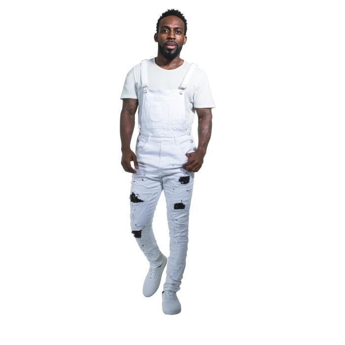 Conception innovante 20682 98b8f Salopette Homme Super Skinny - blanc Denim Overalls con ...