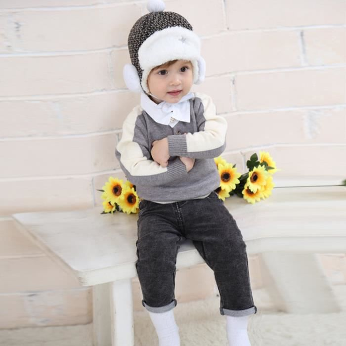 Bébé enfant en bas âge enfants garçon fille tricoté au Crochet bonnet hiver  chapeau chaud bonnet LNP70929373A 04a0af2df8e