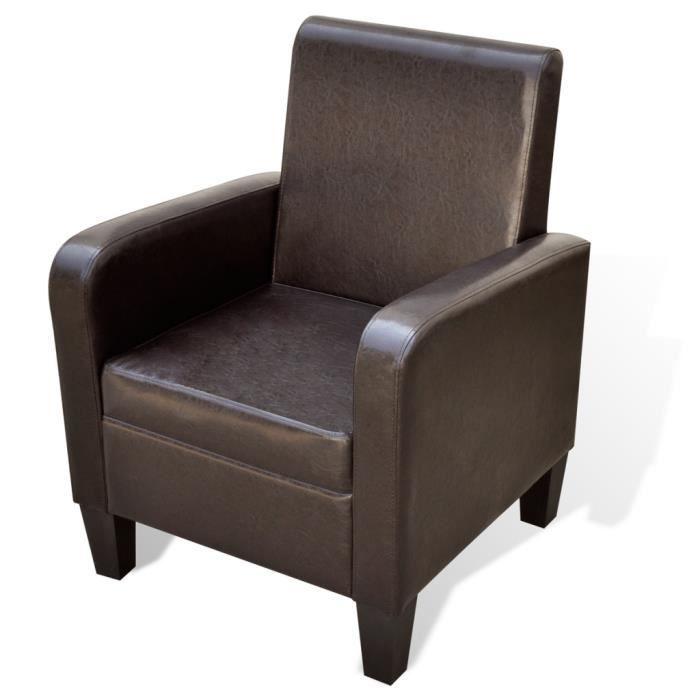 Fauteuil Rembourré Ergonomique Marron En Cuir Synthétique Et Cadre - Fauteuil salon ergonomique