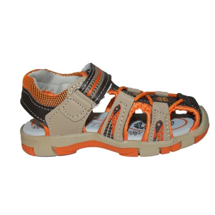 sandales nu pieds marron et orange garçon
