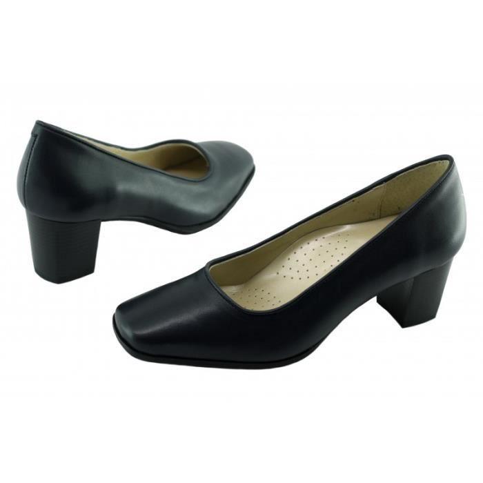 Barbade Alarm Free – Escarpin grande largeur bout carré talon moyen chaussure Femme Les Escarpins d'Hôtesses cuir bleu marine