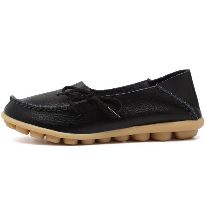 Women' S Leather Loafers Casual Moccasin Driving Outdoor Shoes Indoor Flat Slip-on Slippers P3XPW Taille-36 1-2