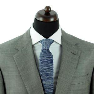 - Ecravate Cravate Tricot Marine Beige et Turquoise Bout carré