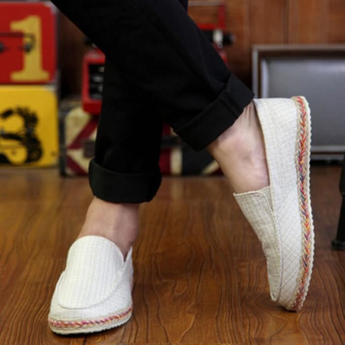 Mocassin Casual Hommes Chaussures Blanc