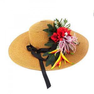 CHAPEAU - BOB Chapeau de paille caramel Fleurs rouge - Taille un 5c895cbf7d9
