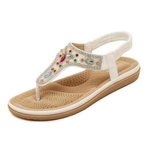 Eté Femme Sandales Plates Chaussures de Plage Sandales Femme KIANII® Blanc 30xQI