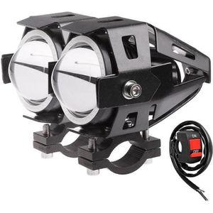 PHARES - OPTIQUES 2 PCS 125W Conduit de Moto LED Phare Projecteur Fe